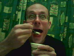 Stef guiding down yoghurt