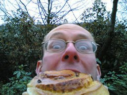 Stef attacked by the giant Danish pastry in Paris