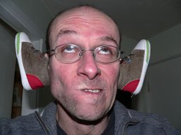Stef with shoes for ears