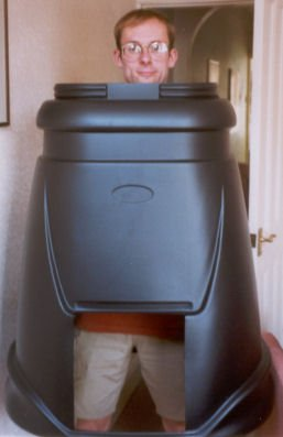 Stef often wears the compost bin